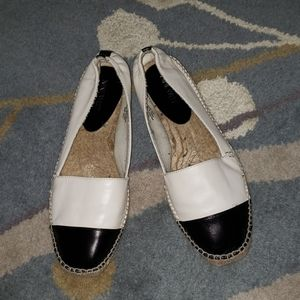 Nine West leather black toe flat espadrilles